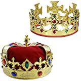 Adjustable Gold Crown and a Red Jeweled Crown By Funny Party Hats