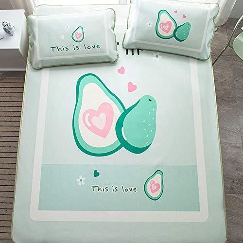 WOF Zomer ijs zijde mat-geborduurde rotan mat 1.8m bed driedelige set in de zomer dubbele airconditioning mat verdikte zachte en comfortabele mat opvouwbaar for slaapkamer kinderkamer