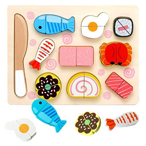 Sunshine smile Frutta Giocattolo per Bambini, Taglio Frutta Verdura,Giocattoli da Animali Puzzle 3D,Montessori Educativo Giocattoli di Taglio(Cucina Giapponese)