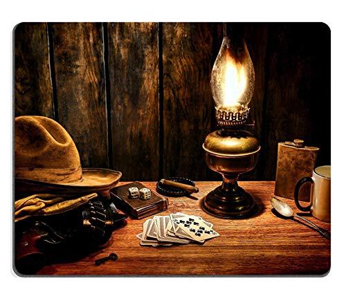 Rutschfeste Mousemat Gummi Mauspad,Gaming Mousepad American West Legend Cowboy Abgenutzter Hut Atop Handschuhe Und Im Holster Auf Einem Old Western Hotelzimmer Holz Nachttisch Mit Vintage Poker Pla
