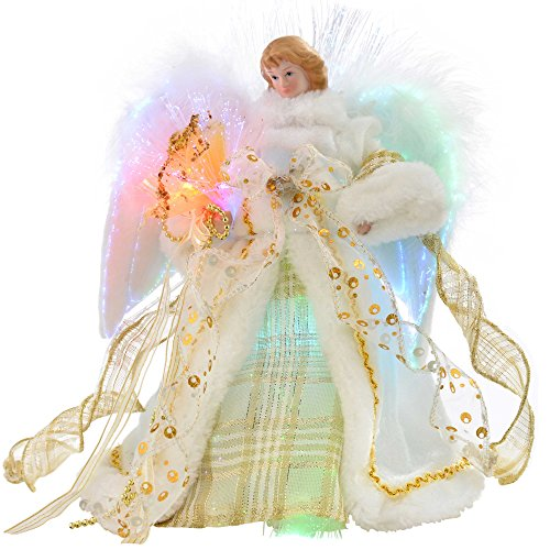WeRChristmas Fibre Optic Christmas Tree Top Topper Angel with Feather Wings, 25 cm - Cream/Gold