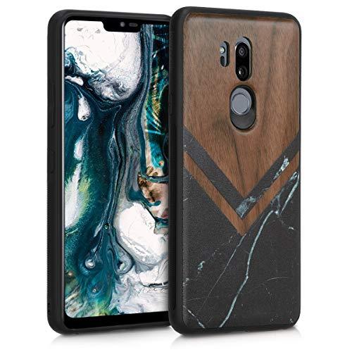 kwmobile Holz Schutzhülle für LG G7 ThinQ/Fit/One - Hardcase Hülle mit TPU Bumper Walnussholz in Holz Glory Marmor Design Schwarz Weiß Dunkelbraun - Handy Case Cover