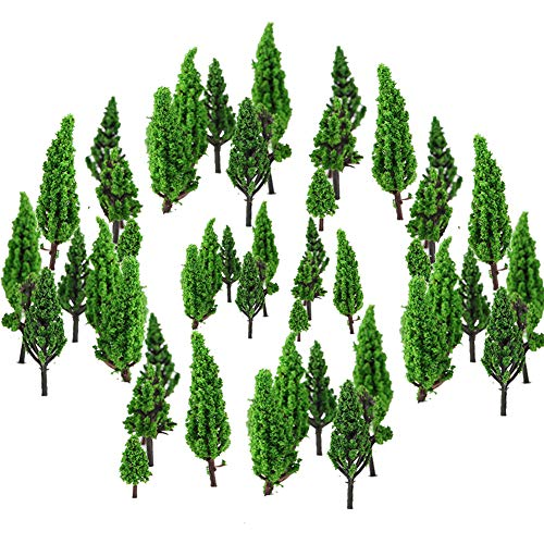 50 Stück Modell Bäume Miniatur, Stücke Modellbau Bäume H0, Zug Bäume Eisenbahn Landschaft Diorama Baum Architektur Bäume Tabletop, für DIY Landschaft, Mini Landschaftsgestaltung, Natürliche Grün