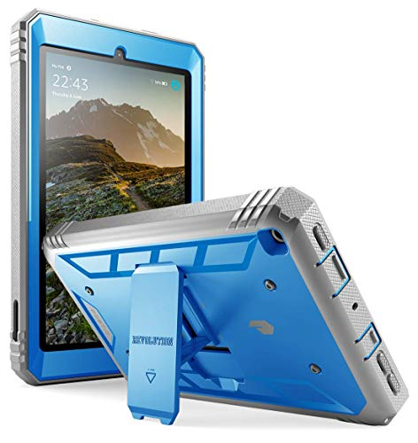 Poetic All-New Fire 7 Tablet Case (9th Gen, 2019 Release), Full-Body Shockproof Protective Cover with Kickstand, Built-in-Screen Protector, for Amazon Fire 7 Inch Tablet 9th Generation, Blue