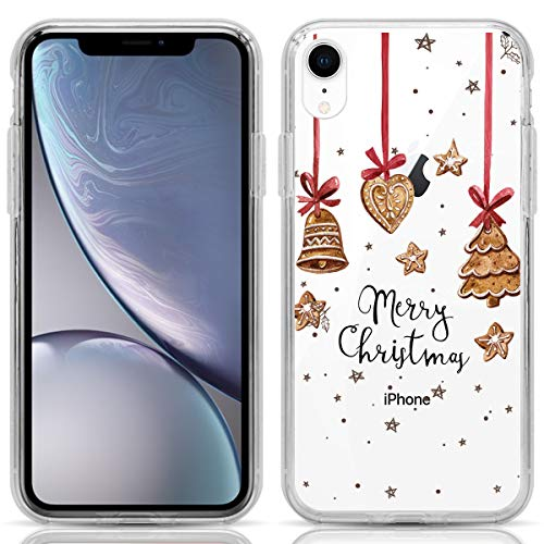 Compatible with iPhone XR Case, DOB SECHS iPhone XR Case, Christmas Jingle Bell Clear Design Printed Plastic Hard Back Case with TPU Bumper Case Cover for Apple iPhone XR