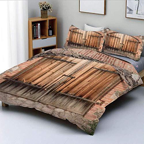 Juego de funda nórdica, puerta de madera de una casa de piedra con elementos de hierro forjado Tuscany Architecture PhotoDecorative Juego de cama de 3 piezas con 2 fundas de almohada, marrón grisáceo,