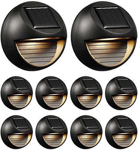 ELYXWORK Solar Deck Lights 10 Pack, Solar Led Step Lights, Waterproof Round Wall Lights for Outdoor Yard, Patio, Fence Post, Railing, Stair, Warm White