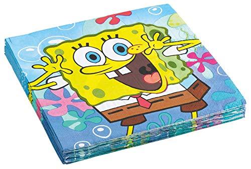 amscan 997776 20 Servietten Spongebob, Blau
