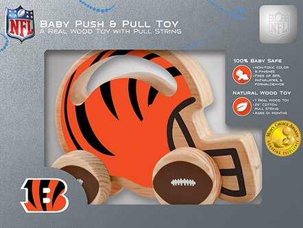 Non-Toxic Push /& Pull Toy with Cotton String Phthalates /& Formaldehyde Free MasterPieces NFL Pittsburgh Steelers Natural Wood BPA