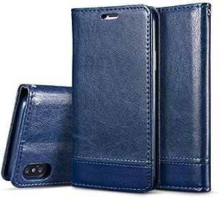 HOMESTAYDD iPhone XRケース、iPhone XR用両面吸収スプライス水平フリップレザーケース、ホルダー付き&カードスロット&ストラップ付き (色 : 青)