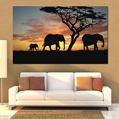 wZUN Estilo de Pintura Pared Decorativa Elefante Animal Arte Lienzo Imagen Sala de Estar Moderna 60x90cm Sin Marco