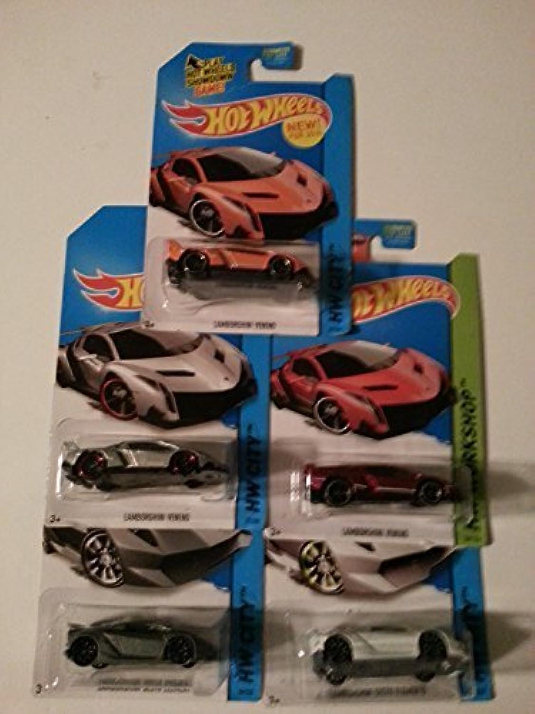 Hot Wheels Lamborghini set of 5  Sesto Elemento in grau and Weiß, Veneno in rot, Orange and Silber  by Mattel B018MVPHGA Zu einem niedrigeren Preis | Billiger als der Preis