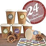 """Adventskalender DIY Set mit 24 Coffee-to-Go-Bechern (100% biologisch abbaubar) zum befüllen und selber basteln inkl. 24 weihnachtlichen Aufklebern """"Moderne Adventszahlen"""""""