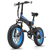 Lixada Bicicleta Eléctrica 1000W 20 Pulgadas Plegable de Asistencia Eléctrica con Neumáticos de Grasa de 4.0 Pulgadas Batería de 10.4AH Alcance de 90 km