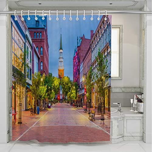 BEISISS USA Shower Curtain,Burlington Vermont USA,Multicolor Water Repellen,Machine Washable Art Pattern for Bathroom