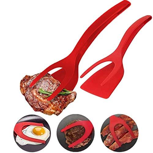 Pamura - 2 Stück 2in1 Wendezange - Küchenzange und Pfannenwender in einem - antihaftbeschichtet - Keine Kratzer - 100% lebensmittelechtes Silikon - spülmaschinenfest - Küchenwender - Grillzange - rot