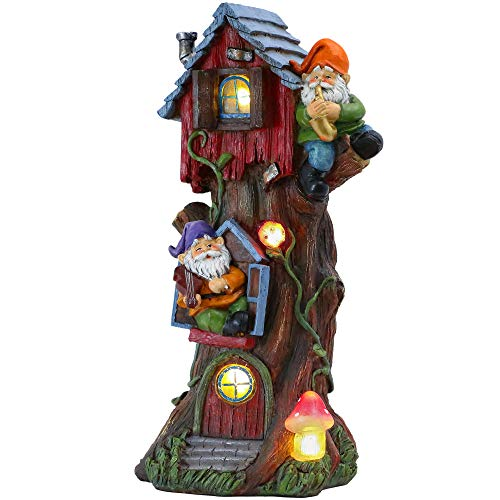 TERESA'S COLLECTIONS Solar Garden Ornaments Outdoor, 37cm Big Illuminated Fairy Gnome Tree House Garden Statue, Waterproof Resin Dwelling Ornament for Yard Lawn Fall Decorations and Gift