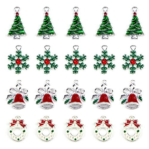 20 Pcs Assorted Enamel Charm Pendant Silver Plated Christmas Tree Snowflake Garland Bell Dainty Dangle Crafting Accessories Decorations for Necklace Bracelet Ankle Earring Jewelry DIY Making