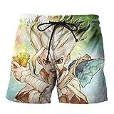 Dr.Stone Short de Bain Tronc Coton Jogger en Vrac Beach & Piscine Short Taille élastique Populaire Sauvage Style de Rugby Shorts (Color : A04, Size : Height-160cm(Tag S))
