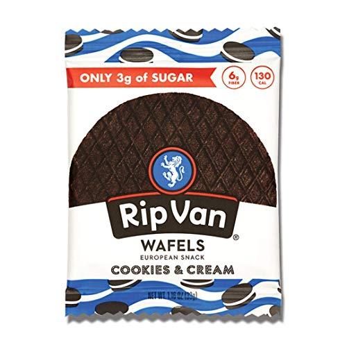 Rip Van Wafels Cookies & Cream Stroopwafels - Healthy Snacks - Non GMO Snack - Keto Friendly - Office Snacks - Low Sugar (3g) - Low Calorie Snack - 12 Pack