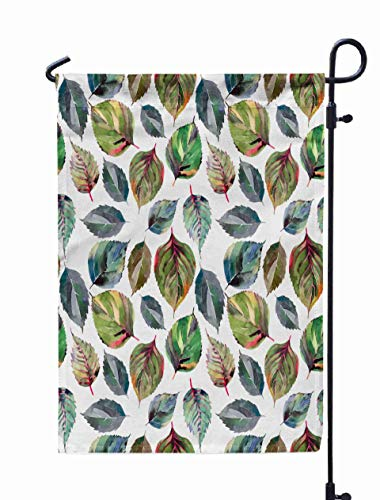 UIJDIAm Welcome Garden Flag Home Yard Decorative 12X18 Inches Beautiful Lovely Cute Wonderful Graphic Bright Floral Herbal Autumn Orange Green Yellow Double Sided Seasonal Garden Flags,White Gray