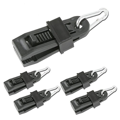 RAM-PRO 24pc Tarp Clips Heavy-Duty with Carabiner - Sliding-Lock Grip - Great for Awnings Farming Garden Marine Automotive & More