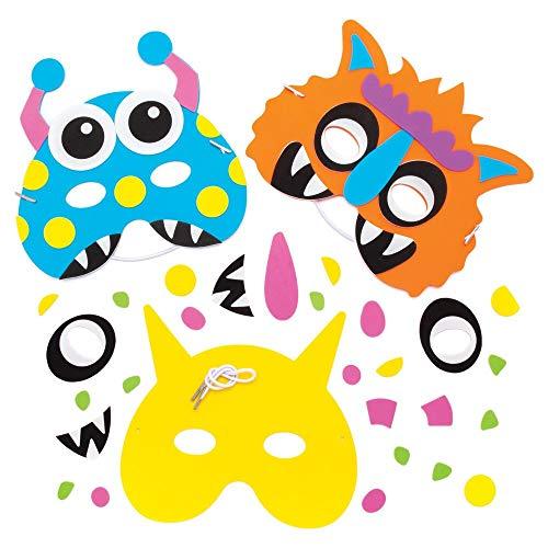 Baker Ross Halloween Masken Bastelset (4 Stück) Monster-Masken für Kinder zum Anziehen und Spielen