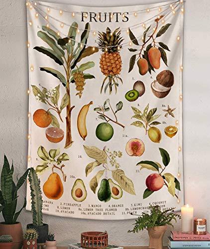 Tapiz vertical de frutas para colgar en la pared, ilustrativo gráfico de referencia, tapiz con palabra, beige blanco, vintage de la bandera del tarot Tapiz recto de 154 x 127 cm