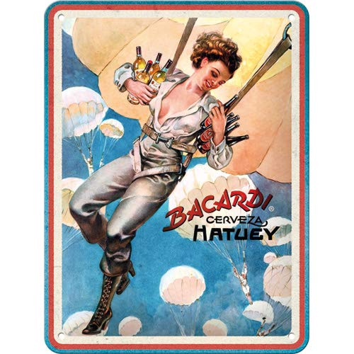 Nostalgic-Art 26252 - Bacardi - Cerveza Hatuey Pin Up Girl, metalen bord 15 x 20 cm