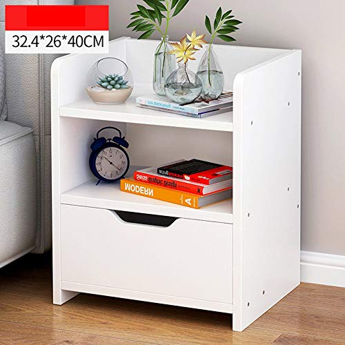 ZXYY modern nachtkastje slaapkamer kast lade nachtkastje goedkoop (kleur: walnoot) Wit.