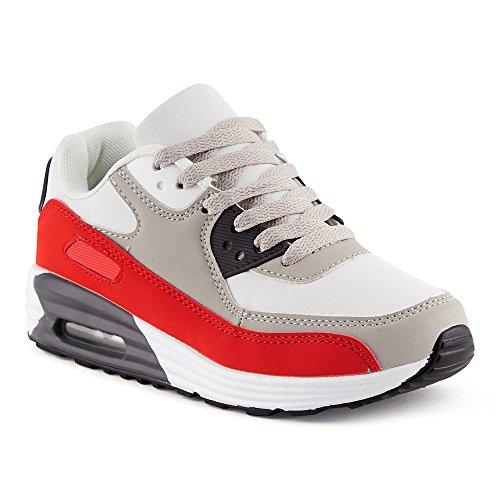 FiveSix Herren Damen Sportschuhe Dämpfung Sneaker Laufschuhe Rot/Grau/Weiss-W EU 36