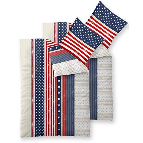 CelinaTex Fashion Bettwäsche 155x220 cm 4teilig Baumwolle America Sterne Streifen Weiß Blau Rot