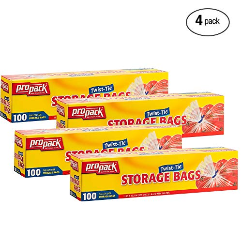 ProPack Disposable Plastic Storage Bags with Original Twist Tie, 1 Gallon Size, 400 Bags, Great for Home, Office, Vacation, Traveling, Sandwich, Fruits, Nuts, Cake, Cookies, Or Any Snacks (4 Packs)