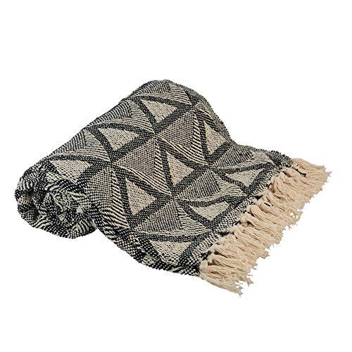 Manta de Punto con diseño de triángulo, 100 % algodón, Gruesa, Suave, cálida, con Flecos, Ligera, Decorativa, para sofá, Cama, Sala de Estar, Cama, Viajes, Picnic, Interior y Exterior
