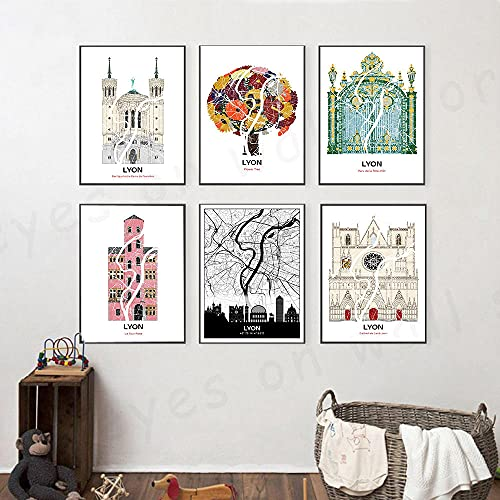 Arte de Pared Pintura en Lienzo Carteles e Impresiones de Edificios de la Ciudad nórdica Sala de Estar Decoración Flor Árbol Pintura de Pared | 30x40cmx6 Sin Marco