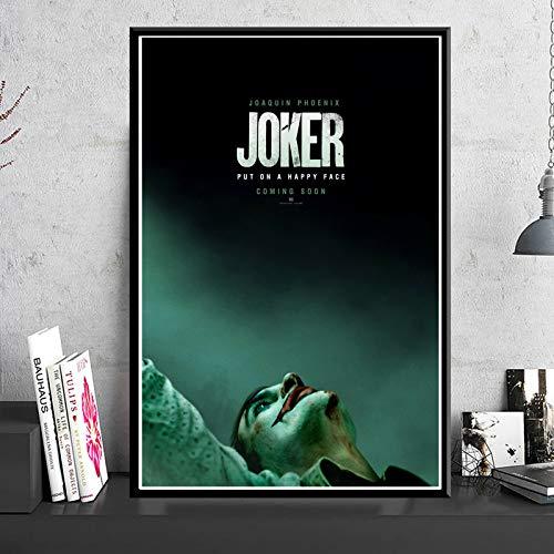 yhyxll Poster Drucke Joker Poster Joaquin Phoenix Film 2019 DC Comic Kunst Leinwand Ölgemälde Wandbilder Für Wohnzimmer Wohnkultur Eine 60X90 cm