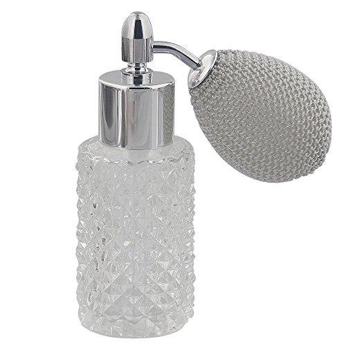 Kosmetex Glas-Flakon leer mit Kristallschliff, 25ml Parfüm-Zerstäuber mit Ballpumpe, Silber