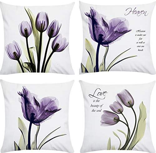 Amazon Com Hibedding Tulip Decorative Throw Pillow Covers Purple Modern Cushion Cover Ultra Soft Velvet Girls Room Decor Pillowcase For Bench Sofa Porch Patio Decor Ultra Soft Tulip Home Kitchen