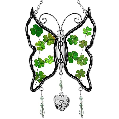 KY&BOSAM Irish Shamrock I Love You Butterfly Suncatchers Glass Mother Wind Chime St Patrick's Day I Love You Heart Charm - Gifts for Mom -Mom for Birthdays