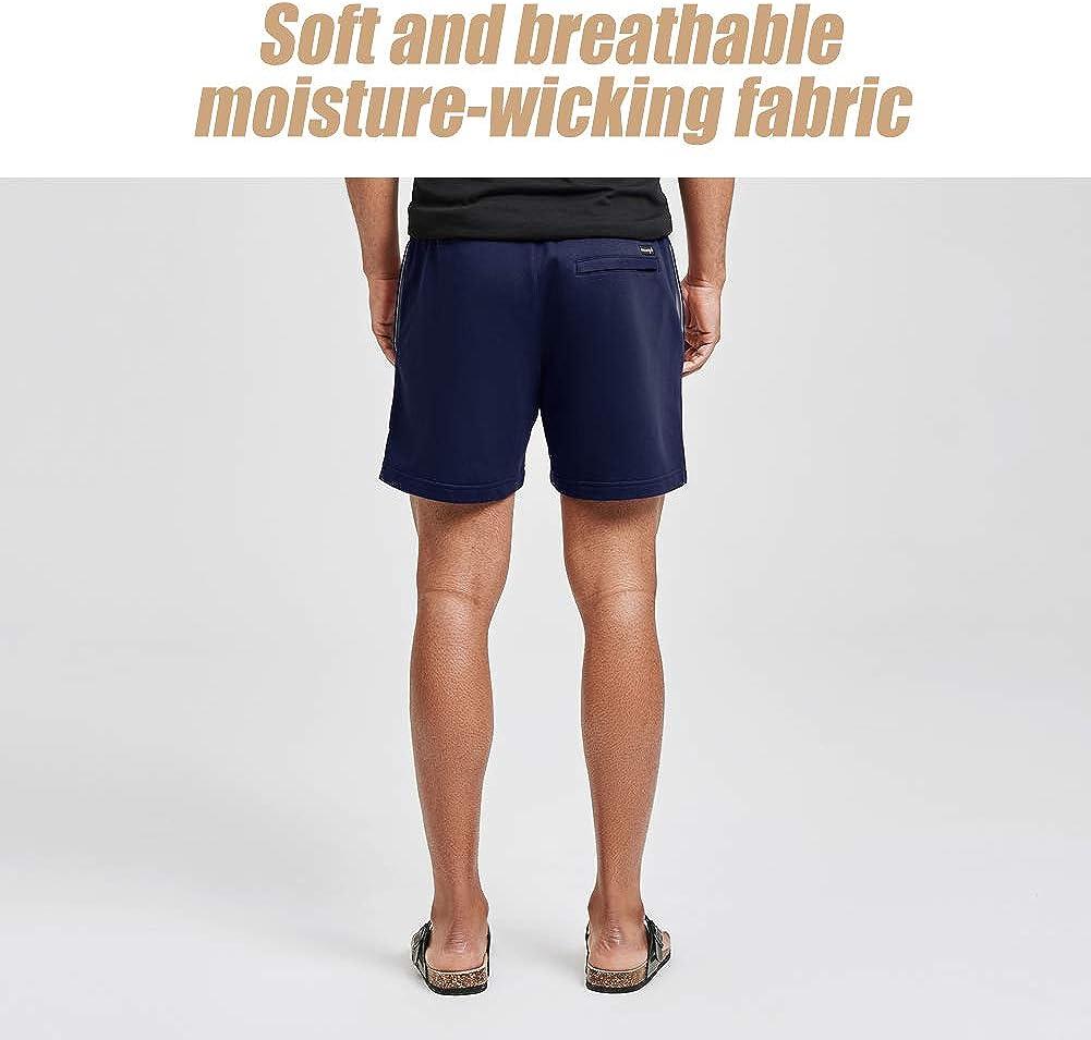 Pantalones Cortos de Punto Deportivos de Entrenamiento Jogger para Hombre Cintura El/ástica Pijama Casual con Bolsillo Longitud 18 cm