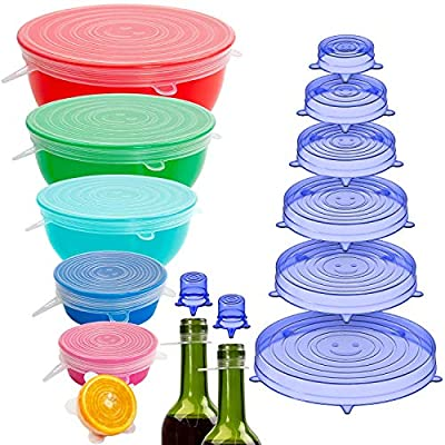 Holikme 16 Pack Silicone Stretch Lids Reusable Durable Fit Different sizes Silicone Covers for Bowls Transparent & Blue