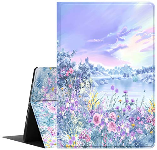 Galaxy Tab A 8.0 2019 Case T290 T295, Feams Slim Lightweight Folio Stand PU Leather Case Soft TPU Back Cover for Samsung Galaxy Tab A 8.0 Inch 2019 Tablet SM-T290/T295, Purple Garden