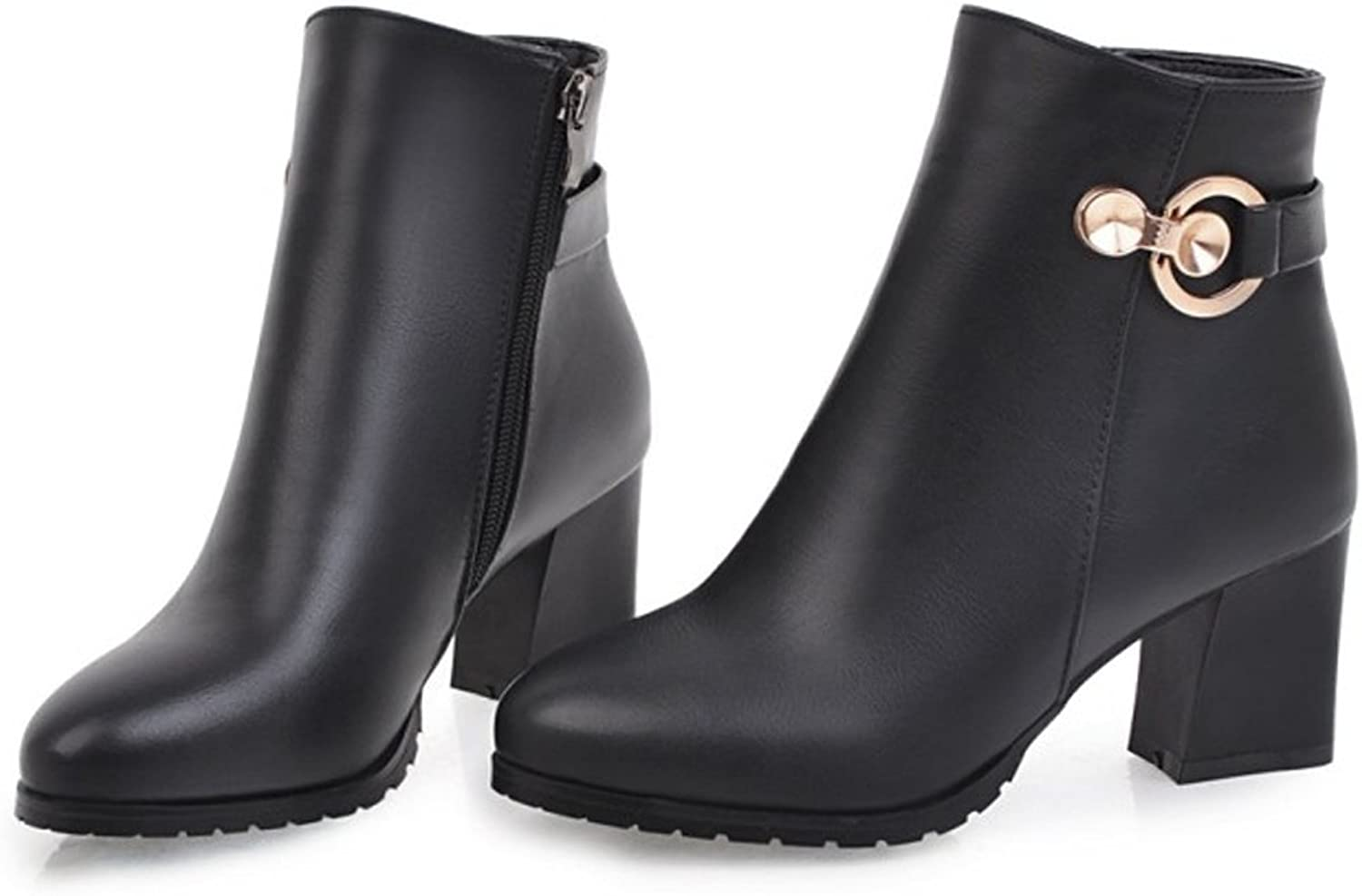 QZUnique Women Square Chunky Heel Ankle Booties with Metal Decoration Side Zip-Up PU Surface Martin Boots