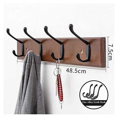 Natural Bamboo Wall-Mounted Kapstok Kapstok Towel Bag Key Holder Hanger Haken Rack For Entryway Badkamer (Color : Coffee, Size : 6 Hooks)