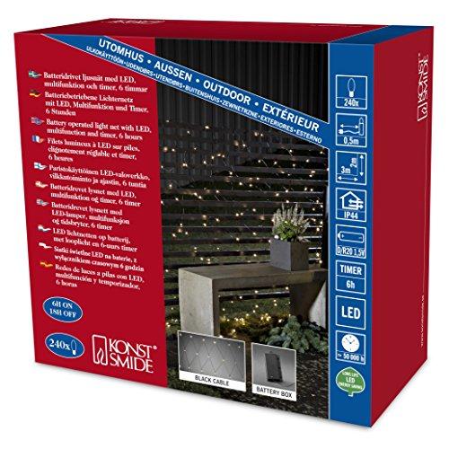 Konstsmide 3726-100 Filet Lumineux Extérieur sur Pile 240 LEDs Blanc Chaud Câble Noir