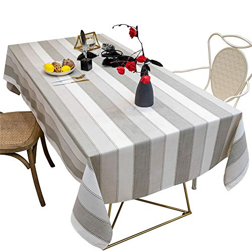 gumeng Mantel a Rayas de algodón y Lino Mantel de Tela Borla de Tela Mesa de café cojín Mantel Gris Claro 140 * 240cm