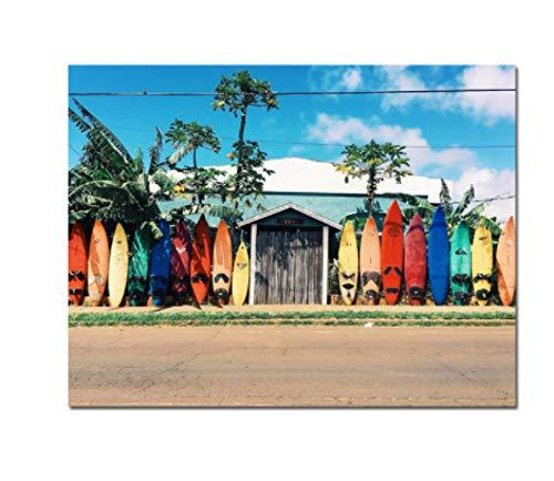 ZYHSB Lienzo Pintura Tabla De Surf Carteles De Paisaje Marino Imágenes Artísticas De Pared Modernas Decoración del Hogar 18X12 Pulgadas Kw469Ym