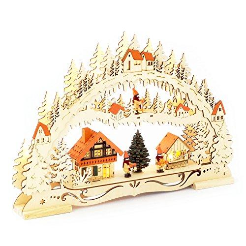 Wichtelstube-Kollektion LED Schwibbogen Weihnachtsmarkt Original Schwippbogen Lichterbogen