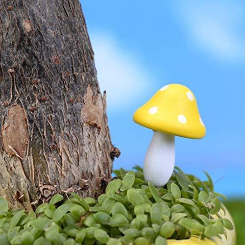 Fenghezhanouzhou Champignon Boisé en Bois Mini Champignons Décoration Artisanat Micro-Paysage Ornements Accessoires Couleur Aléatoire Livraison