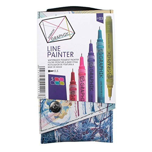 Derwent Graphite Pens, Graphik Line Painter Colored Pens, Palette No.3, 5 Pack (2302232)